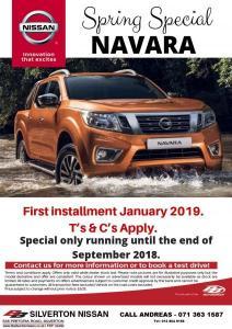 SPRING SPECIALS NAVARA Pay 1st installment in Jan 2019