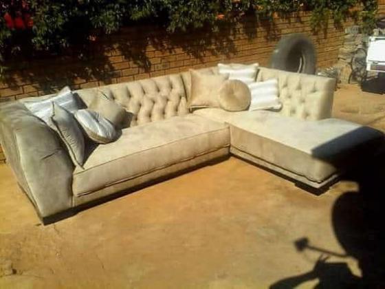 Custom made Charcole & Beige Diamond Buttoned Couch in Johannesburg, Gauteng