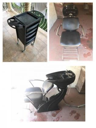 Salon hair washbasin and chair combo plus trolley