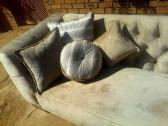 Custom made Charcole & Beige Diamond Buttoned Couch