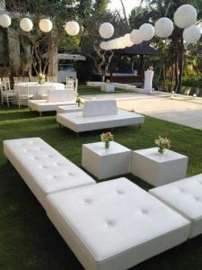 Events deco furniture hire. Couches, tents, cocktail tables, etc