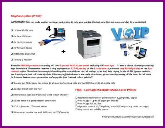 A VoIP package with an all included printer to be more productive!