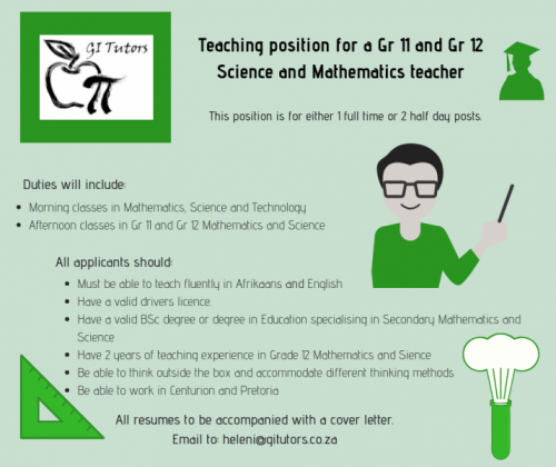 Teaching position available for math and science teacher in Centurion, Gauteng