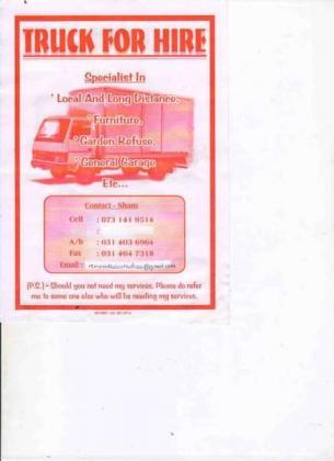 MOVING TRANSPORT SERVICE PONGOLA - MKUZE