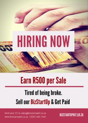 WE'RE HIRING EARN R500 PER SALE