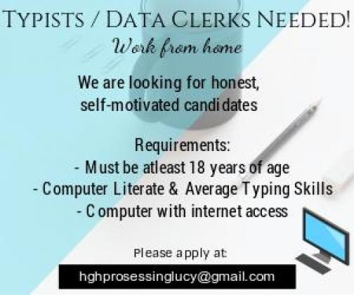 Typists / Data Entry Clerks Positions Available