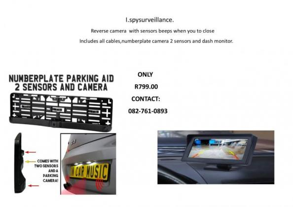 Car or taxi Reverse number plate camera,sensors and monitor
