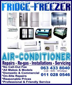 All Areas: Fridge - Freezer - Aircon Repairs