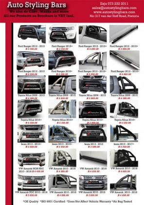Auto Styling Bars - Nudges, Rollbars, Side Steps, Towbars, Tonneau Covers