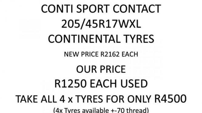 CONTI SPORT CONTACT 205/45R17WXL CONTINENTAL 4 x TYRES