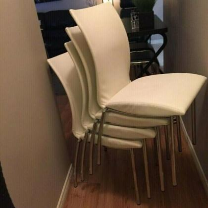 4 White Leather Chairs from Mobler Furniture