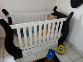 Baby Wooden Cot with Mattress and Bottom Drawer