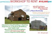approved WORKSHOP TO RENT - R15,000pm