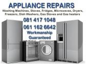 Washing machine repairs, stove-repairs, tumble dryer repairs, fridge repairs, dishwasher repairs, Mi