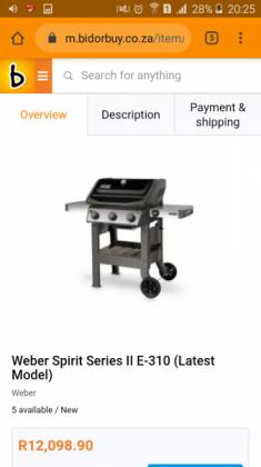 Weber Spirit Series II E-310 Gas Braai worth R11999