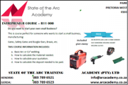 Welding Training - Entrepeneurs Course R11 000.00