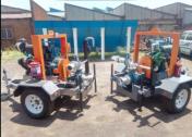 Diesel water pump. Irrigation pump. Mobile water pump