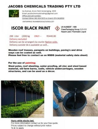 Iscor Black Bitumen Paint 25 litre container