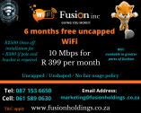 Fast uncapped WiFi for as little as R 399 per month