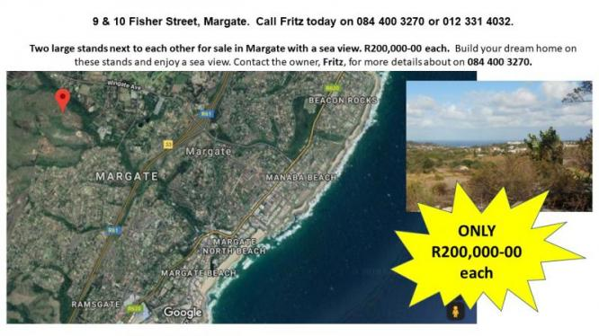 Two large stands next to each other for sale in Margate with a sea view in Margate, KwaZulu-Natal