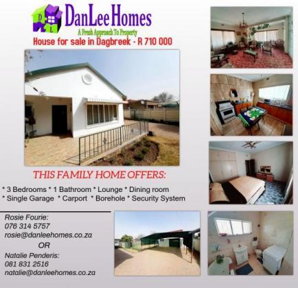 3 Bedroom House For Sale in Dagbreek! in Welkom, Free State