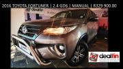 2016 Toyota Fortuner 2.4GD6 Manual for only R329 900.00