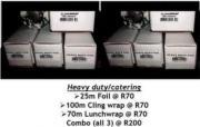 FOIL 25m, CLINGWRAP 100m, WAX PAPER 75m @ R70 per roll / R200 FOR ALL 3