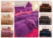 3 Piece Faux Fur Comforter Sets - Double and Queen