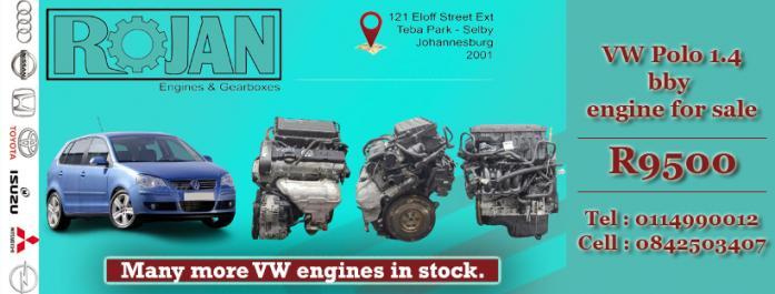 VW Polo 1.4 BBY engines for sale in Johannesburg, Gauteng